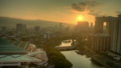 Honolulu Sunrise, Ala Wai River, HDR Time Lapse Dawn Stock Footage