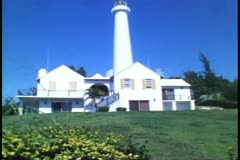 Gibb's Hill Lighthouse, Bermuda, wide shot Stock Footage