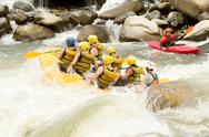 Stock Photo of dangerous whitewater rafting