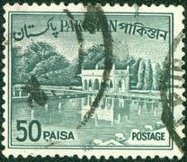 stamp printed in Pakistan shows image of the Architecture Pakistan, circa 1970. - stock photo