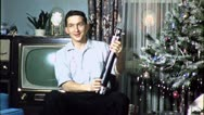 YOUNG FILMMAKER GET TRIPOD Christmas 1950 (Vintage Film Old Home Movie) 4592 Stock Footage