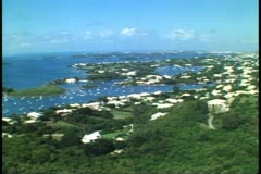 Gibb's Hill Lighthouse, panoramic view over Bermuda and Great Sound - stock footage