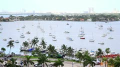 Miami Aerial View  with Boats - stock footage