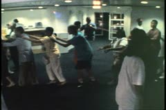 Island Party, conga line, party and crowd, on cruise ship in Bermuda Stock Footage