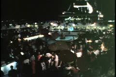 Island Party at Night, overview shot, on cruise ship in Hamilton, Bermuda Stock Footage