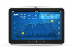 stock market data on digital tablet - stock photo