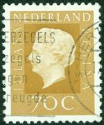 stamp printed in the Netherlands shows Queen Juliana, circa 1969. - stock photo