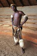 Strong zulu man posed - stock photo