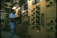 Engineer room switching panel, cruise ship, Atlantic Ocean, control room Stock Footage