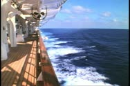 Cruise ship deck, side shot to the sea, no people, Atlantic Ocean Stock Footage