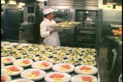 Cruise ship galley, kitchen, MV Horizon, Atlantic Ocean Stock Footage