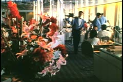 Dining room, waiter passes, daytime, cruise ship galley, kitchen, Horizon - stock footage