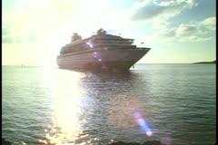 Cruise ship MV Horizon approaching, Town Cut, St. George, Bermuda Stock Footage