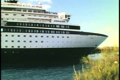 Stern passes into the cut, cruise ship MV Horizon, St. George, Bermuda Stock Footage