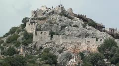 Simena fortress from the sea view Stock Footage