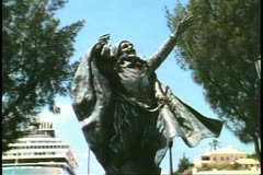 Sir George Sommers statue by Desmond Fountain, St. George, Bermuda Stock Footage