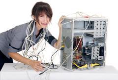Nainen tietokone paniikki Kuvituskuvat