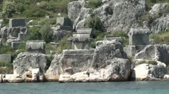 Many Tombs close view from the sea - stock footage