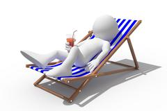 tourist lying on a deck chair drinking a soda - stock illustration