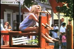 People in the stocks in Kings Square, St. George, Bermuda Stock Footage