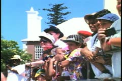 Crowd watches dunking, Kings Square, St. George, Bermuda Stock Footage