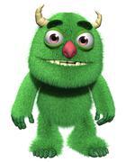 3d cartoon furry cute goblin Stock Illustration