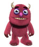 3d cartoon furry cute goblin - stock illustration