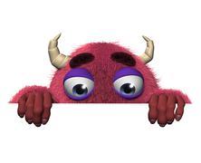 3d sarjakuva halloween punainen hirviö Piirros