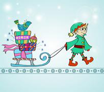 christmas background with sledge, gifts and gnome - stock illustration