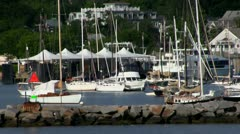 Sailboats Vineyard Haven Martha's Vineyard - stock footage