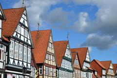half-timbered houses - stock photo
