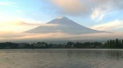 Mount Fuji morning sunset timelapse from Lake Kawaguchi Stock Footage