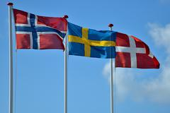 Scandinavian flags Stock Photos