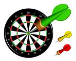 Dartboard with darts Stock Illustration
