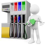 3d työntekijä huoltoasema bensiinipumpuista Piirros