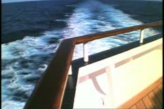 Stern shot, wake of the ship at sea, cruise ship, Horizon, Atlantic Ocean Stock Footage