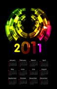 Colorful calendar for 2011 - starts sunday Stock Illustration