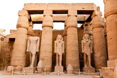 courtyard of ramesses II in luxor temple - stock photo