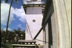 St. Peter's Church, St. George, Bermuda, tilt belfry Stock Footage