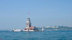 View to the Maiden Tower from from the Salacak coast, Istanbul, Turkey. Stock Footage