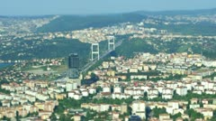 Aerial view to second Bosphorus (Fatih Sultan Mehmet) bridge and city Stock Footage