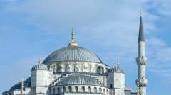 Closeup view to Sultan Ahmed (Blue) Mosque. Time-lapse video. Istanbul, Turkey. Stock Footage