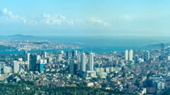 ISTANBUL, TURKEY: Timelapse aerial view to Istanbul and navigation on the Stock Footage
