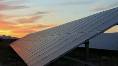 Sunset Descends On Solar Panels Stock Footage