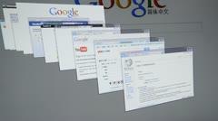 Screen displays popular social network websites Stock Footage