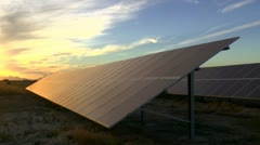 Solar Panel Sunset Time Lapse Stock Footage