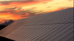 Solar Panel Vibrant Streaked Sunset Time Lapse Stock Footage