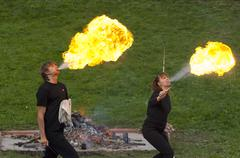 artist of theatre of fire - stock photo