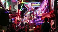 Red light district neon lights Stock Footage