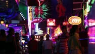 Neon signs lights red light district Stock Footage
